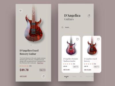 E-commerce Concept App | Guitar store musical instruments e-commerce app online store guitars cards app visual design ux ui typography