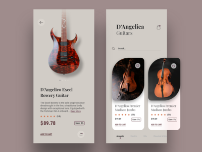 E-commerce concept App | Guitar Store | Version 2 musical instruments guitars colors e-commerce app cards visual design ux ui app typography