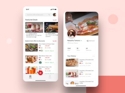 Deals & Discounts iOS Application user profile discounts offers deals vector ios colors design visual design ui ux app typography