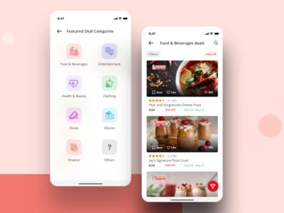 Deals & Discounts iOS Application offers discounts deals vector ios colors cards visual design ux ui app typography