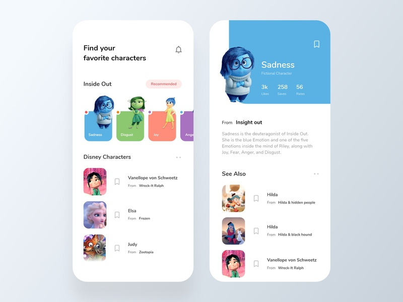 Disney Characters App inside out sadness vector disney character view page home page ios app character disney world design icons ios colors visual design ux ui app typography