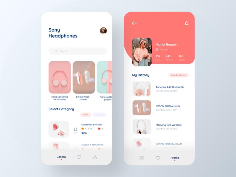 Headphones Store App profile design profile page homepage earphones headphones vector design icons ios colors cards visual design ux ui app typography