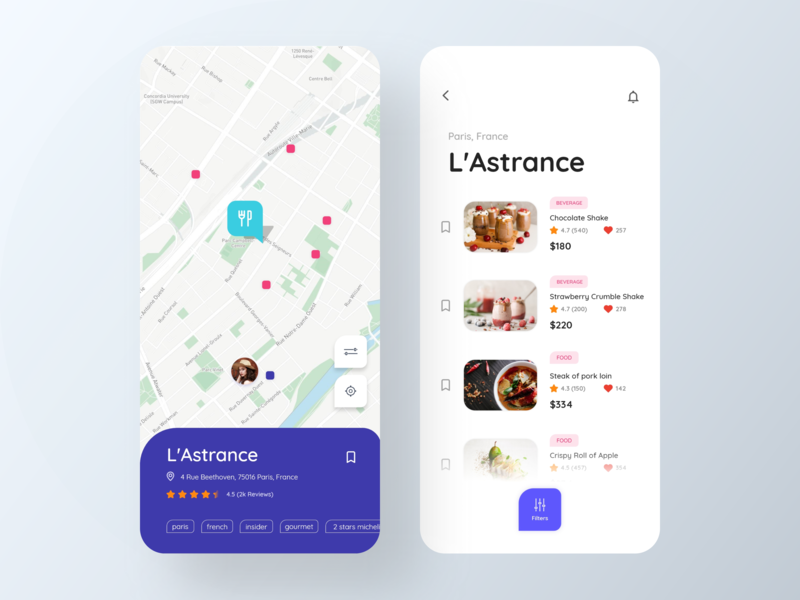Restaurant Recipes App location tracker restaurant page design restaurant tracker food and beverage food and drink beverages drinks food restaurant app restaurants design icons ios colors cards visual design ux ui app typography
