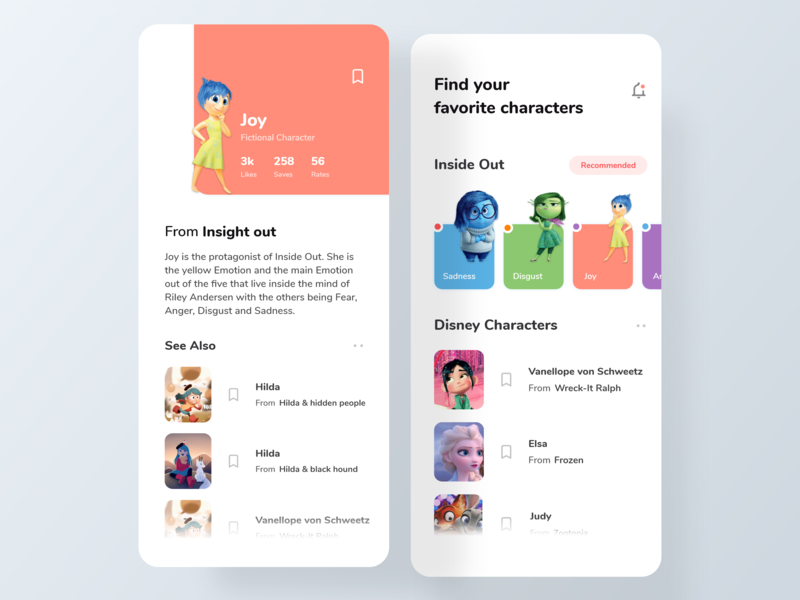 Disney Characters App #2 disney joycharacter inside out characterpage design homepage design uidesigner uiuxdesigner uxdesign uiux uidesign design icons ios colors cards visual design ux ui app typography