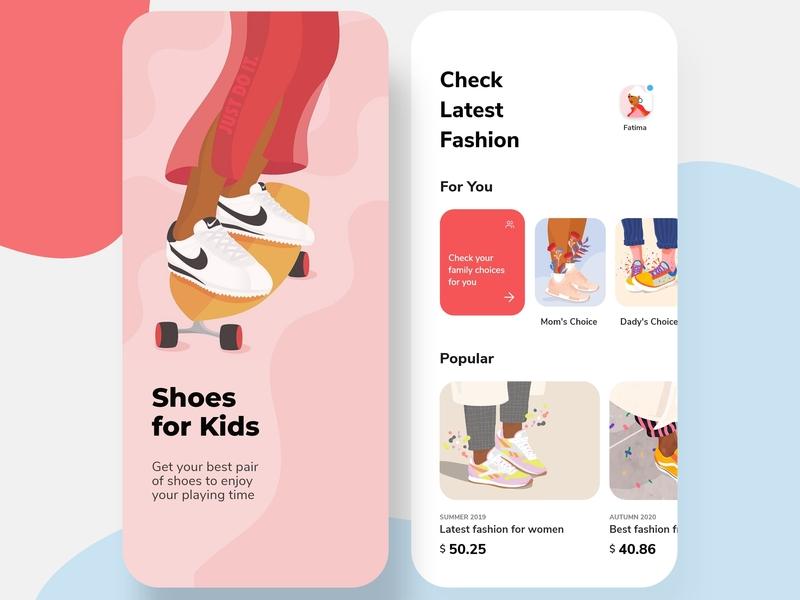 Shoes Store for Kids App e-commerce app shoes illustration art kids uiuxdesign uiux uxdesigner uidesigner uidesign vector design icons ios colors cards visual design ux ui app typography