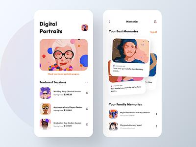 Digital Portraits App - V2 digitalportraits portraits colors visual design app design app typography uiuxdesigner uiux design uidesigners uidesigner uiuxdesign uidesign ui design uiux ux ui
