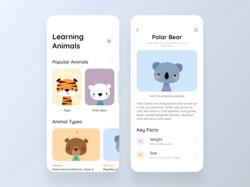 Learning Animals Kids App learning animals kids uiuxdesigner uidesigner uidesign design icons ios colors cards visual design ux ui app typography