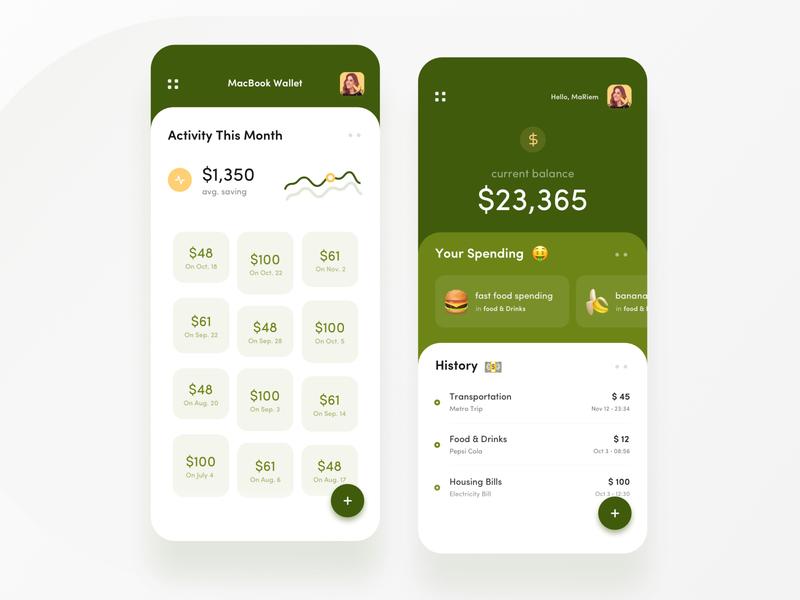 Expenses & Savings Habits App design icons ios colors cards visual design ux ui app typography