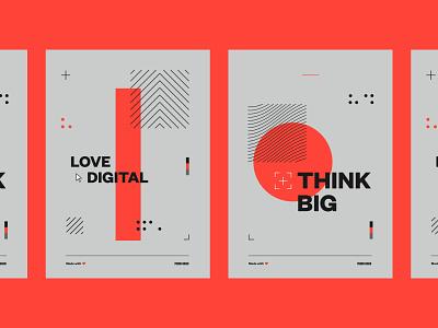 Pound & Grain Poster Series flat minimal vector typography design
