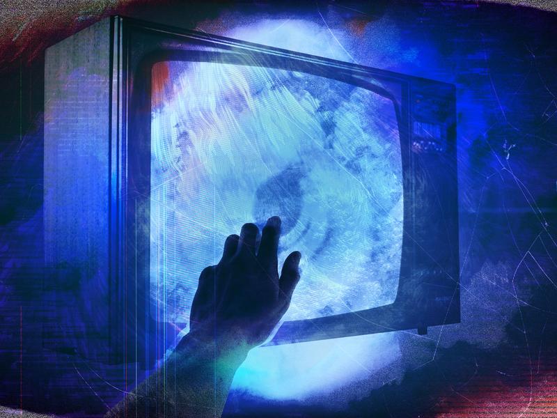 The War wormhole media reach tv dark neon expressive vibrant vivid colourful abstract