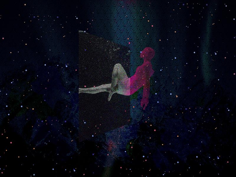 Cubose vivd abstract colourful dark space meta