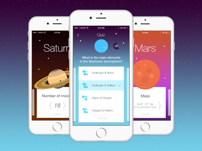 Space Quiz App          interface ios ui ux space cards design flat app quiz game planet