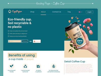 Web Landing Page Coffee Cup branding illustration paper simple ui web design minimal web design landing page cup coffee