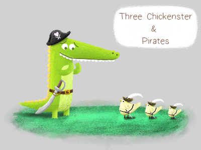 Three Chickenster & The Pirates book children-book illustration