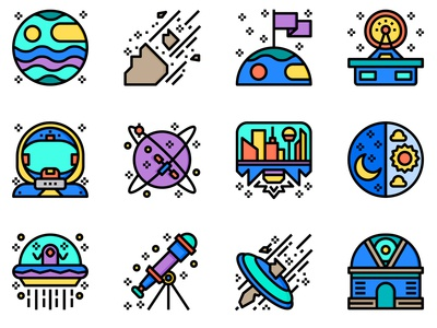 Aerospace Color Line Icons Set