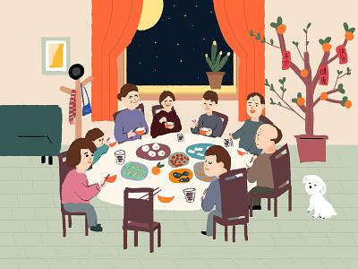 团圆饭 房间 节日 春节 中秋 团圆 吃饭 一家人