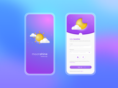 Sign up form with neumorphic elements mobileappconcept userinterface figma weatherapp uidesign ui