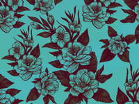 Teal Florals