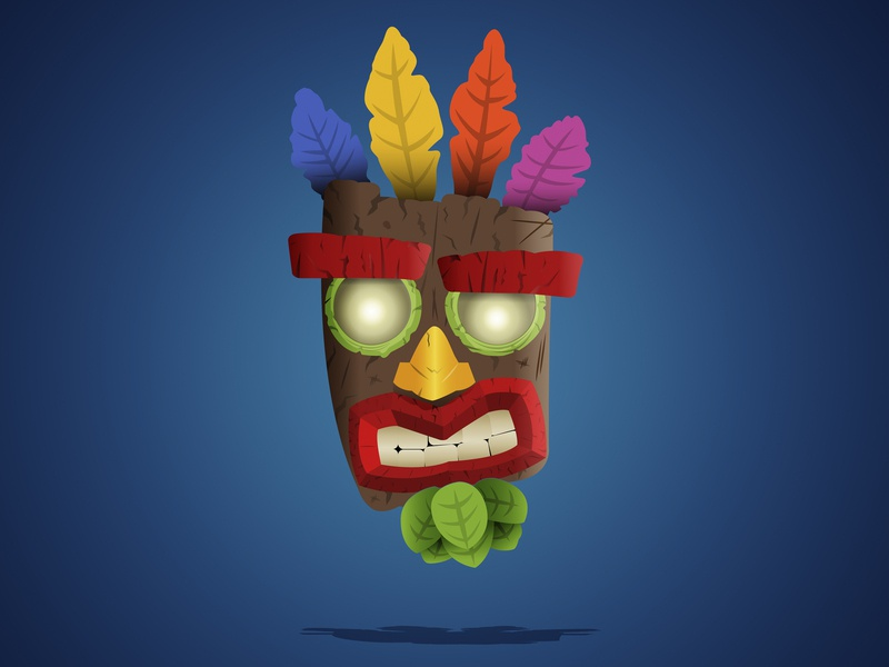 Aku Aku illustrator photoshop boss fight feather playstation crash bandicoot graphic flat graphic games video game mask aku aku