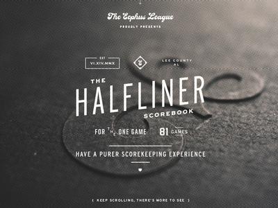 Halfliner Scorebook Site baseball scorebook typography logo