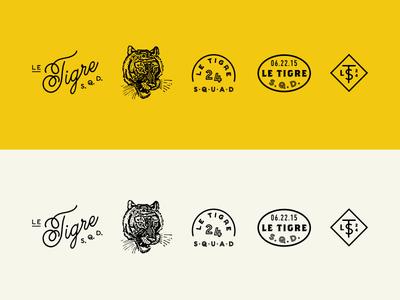 Le Tigre Elements seal monogram logo script tiger vintage typography branding