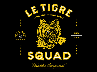 Le Tigre Lockup brothers seal monogram logo script tiger vintage typography branding