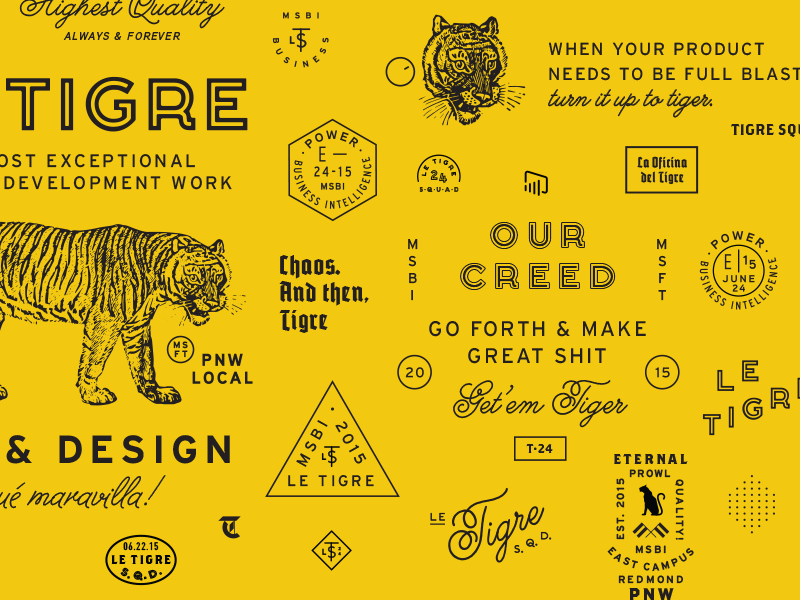 Le Tigre Elements badge script tiger typography branding