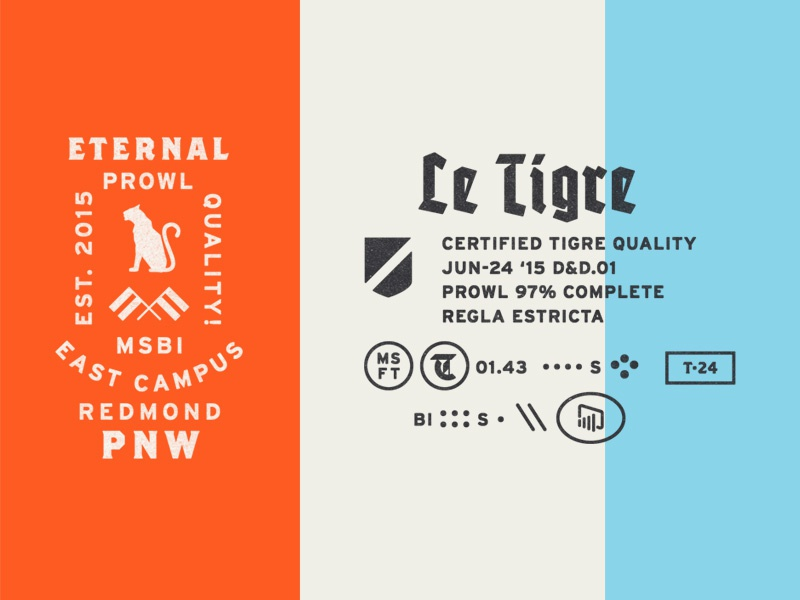 Le Tigre Knick-Knacks blackletter typography badge tiger