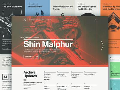 Ishtar Website grid homepage video games destiny typography swiss page design website
