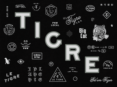 Siberian Tigre blackletter badge branding typography tiger