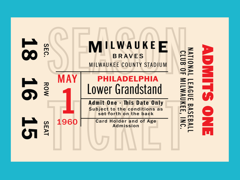 Franklin Gothic Ticket! typography tickets baseball