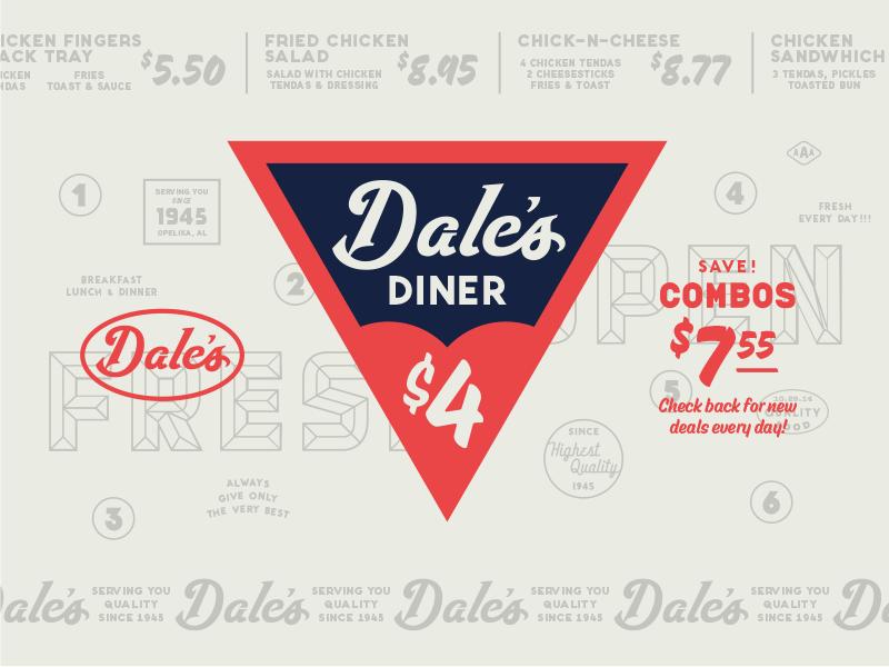 Dale's Diner diner restaurant badges branding typography