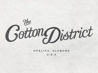 Cotton District logo script sweet sans