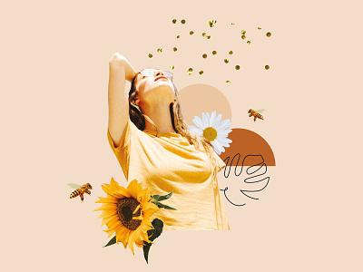 THE WILD Co. Collage 03 visual identity bee sunflower minimal design design flower collage art collage boho design graphic design branding