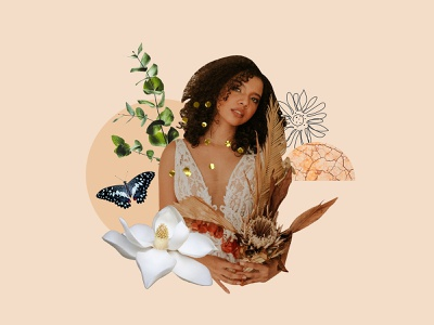THE WILD Co. Collage 04 neutral earth hues butterfly branding design 70s aesthetic visual identity flowers minimal design flower collage art collage boho design graphic design branding
