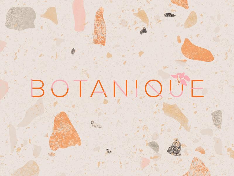 BOTANIQUE logo with close up of handmade terrazzo brand texture earthy brand design terrazzo logo visual identity design minimal design boho design graphic design branding