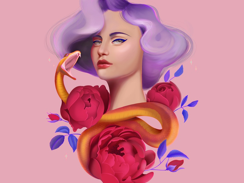 Snake Charmer surreal colourful photoshopart snakeart australian digitalillustration purplehair wacompainting digitalpainting flowerart illustration