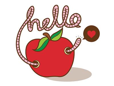 Hello! cute worm kids fun typography vector illustration flat illustration