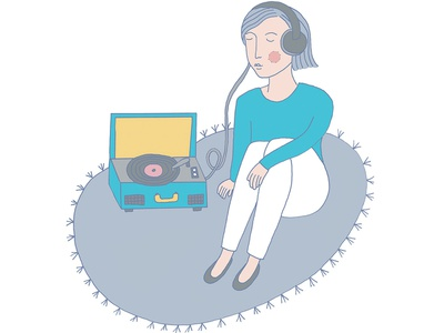 A nice way to spend the day record girl vinyl music illustration