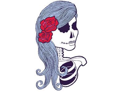 Living Dead Girl sugar skull blue art tattoo roses flowers skeleton skull mexican day of the dead vector girl illustration flat illustration