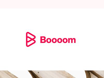 Boooom Brand Identity black typography background jobs management leadership design symbol icon letter outline line identity helvetica wordmark white orange red brand logo