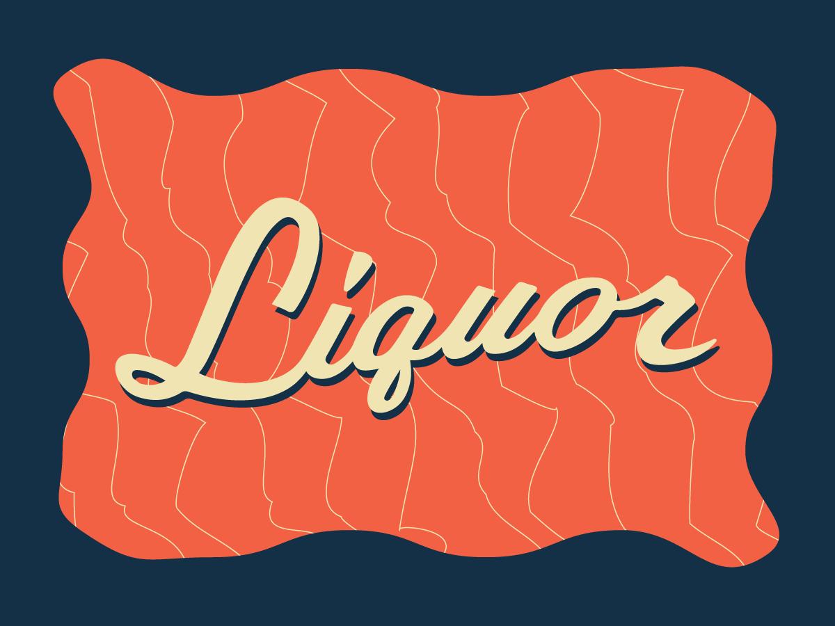 Fancy headaches illustration pattern lettering sign liquor