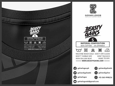 Beasty Gains Tag Design hang tag hangtag hanger label design labeldesign labels label tag design tagline tags tag