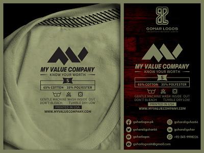 My Value Company Shirt Tag Design hangtag tag graphic design