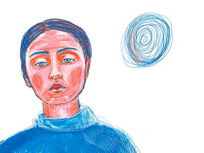 my god has a telephone pencils карандаш девушка портрет kari girl like blue illustration portrait