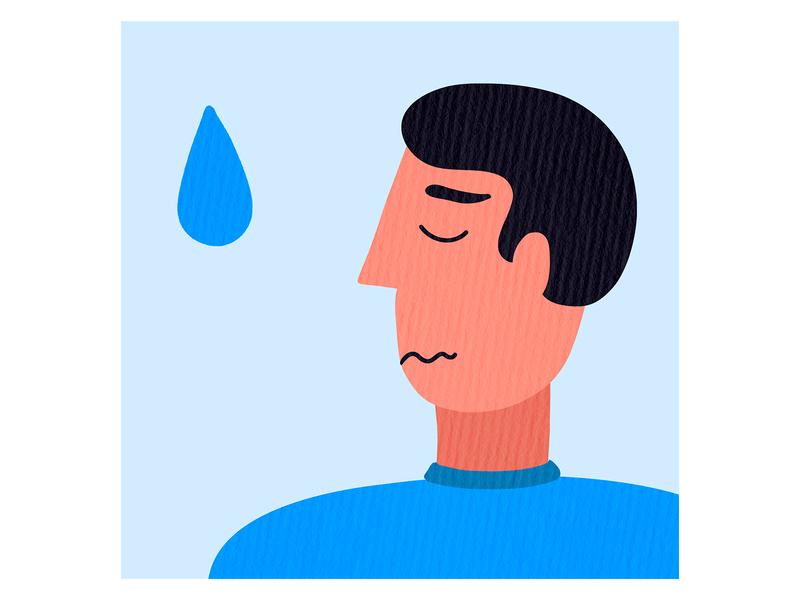 cry me a river emotion man tear drop blue grey t-shirt hoodie print design illustration