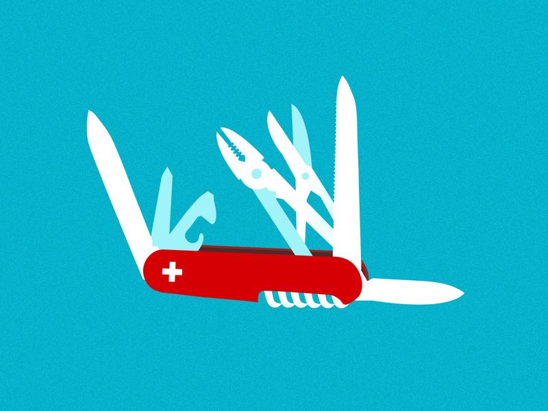 multitasking switzerland knife rule senior job good nice toolbar multitasking blue illustration tools