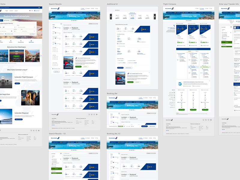 Iceland Air - Comparison Prototype responsive design mobile flight iceland airline product compare cx responsive web ux ui branding design