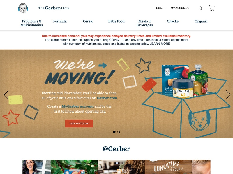 """We're Moving"" Hero Illustration banner webdesign web sale moving baby food baby gerber type illustration identity typography branding design"