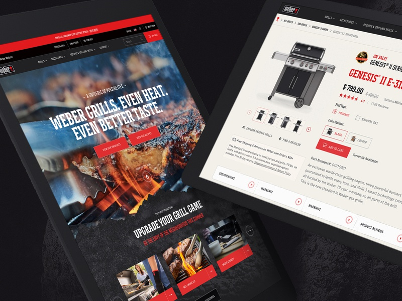 Grill Brand - Page UX/UI dtc product ecommerce grill bbq web ux ui identity typography branding design